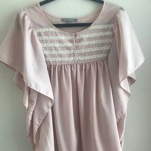 Pink butterfly sleeve top with lace detail